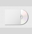 realistic 3d white cd with cover icon vector image vector image