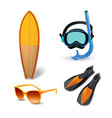 realistic summer holidays seaside beach icons set vector image vector image