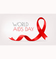 red ribbon on background world aids day vector image