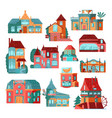 retro houses and cottages facade icons set flat vector image
