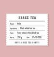 retro vintage tea label with thin line logo vector image vector image