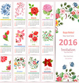 Romantic Calendar for 2016 with beautiful flowers vector image vector image