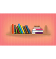 Row and stack of colorful books vector image