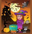 scene with halloween theme 3 vector image vector image