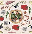 seamless pattern with ingredients for pizza vector image vector image