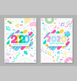 set happy new year poster 2020 happy new year vector image