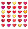 set of 3d heart for day valentine wedding vector image vector image