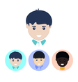 Set of icons with faces of boys vector image