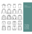 Set with thin line icons on mens sportswear theme vector image vector image