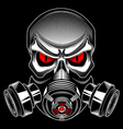 skull wearing a gas mask vector image vector image