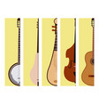 stringed dreamed musical instruments cards vector image vector image