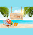 summer vacation concept background travel items vector image