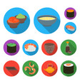 sushi and seasoning flat icons in set collection vector image