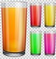 Transparent glasses with opaque colored juice vector image