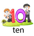 two pantomime playing with the 10 balloon number vector image vector image