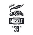 vintage hot rod vehicle tee-shirt logo vector image vector image