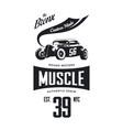 vintage hot rod vehicle tee-shirt logo vector image
