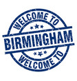 welcome to birmingham blue stamp vector image vector image