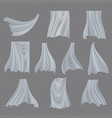 white cloth set billowing clear curly vector image