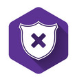 white shield and cross x mark icon isolated with vector image vector image