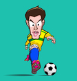 yellow shirt control football cartoon vector image vector image