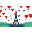 young couple traveling in paris europe vector image vector image