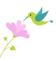 Flying colibri bird and heart flower Cute cartoon vector image