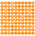 100 shoe icons set orange vector image vector image