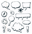 arrows speech bubbles and doodle elements set vector image