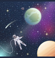 astronaut in outer space flat composition vector image