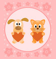 background card with funny cartoon cat and dog vector image vector image