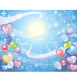 Background with snowflakes and balloons vector image vector image