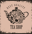 banner for tea shop with teapot and herbal vector image