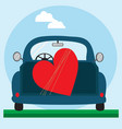 big red heart on the blue car vector image vector image