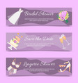 bridal shower set of banners vector image vector image