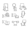 Business Icons With Hands in Linear Style vector image