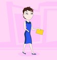 cartoon business woman in elegant dress walking vector image