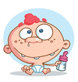 Caucasian Baby In A Diaper Holding A Bottle vector image