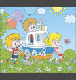 children playing on a toy ship on a playground vector image vector image