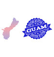 collage of gradiented dotted map of guam island vector image vector image