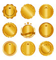 collection of modern gold circle metal badges vector image