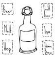 craft beer bottle hand drawn vector image vector image