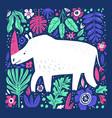 cute white rhino hand drawn vector image