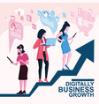 digitally business growth concept vector image vector image
