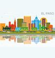 el paso texas city skyline with color buildings vector image vector image