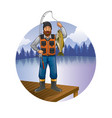 fisherman with beard show his catch vector image vector image