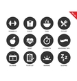 Fitness icons on white background vector image vector image