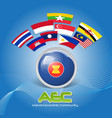 Flag of Asean Economic Community AEC 02 vector image vector image