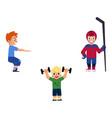 flat boy kids doing sports set vector image vector image