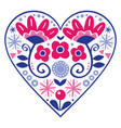 floral folk art heart design valentines day vector image vector image